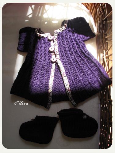 petit gilet encre violette
