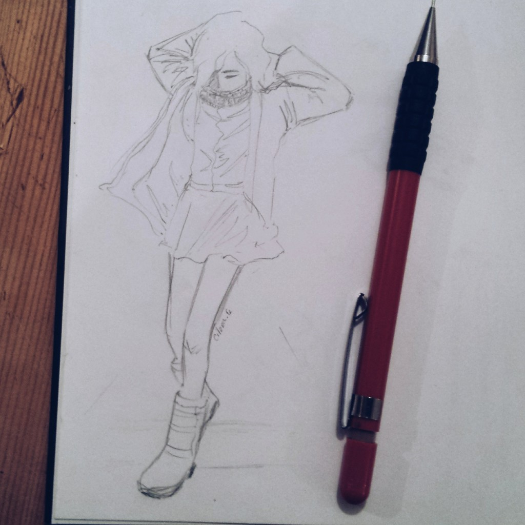 croquis : la fille au manteau