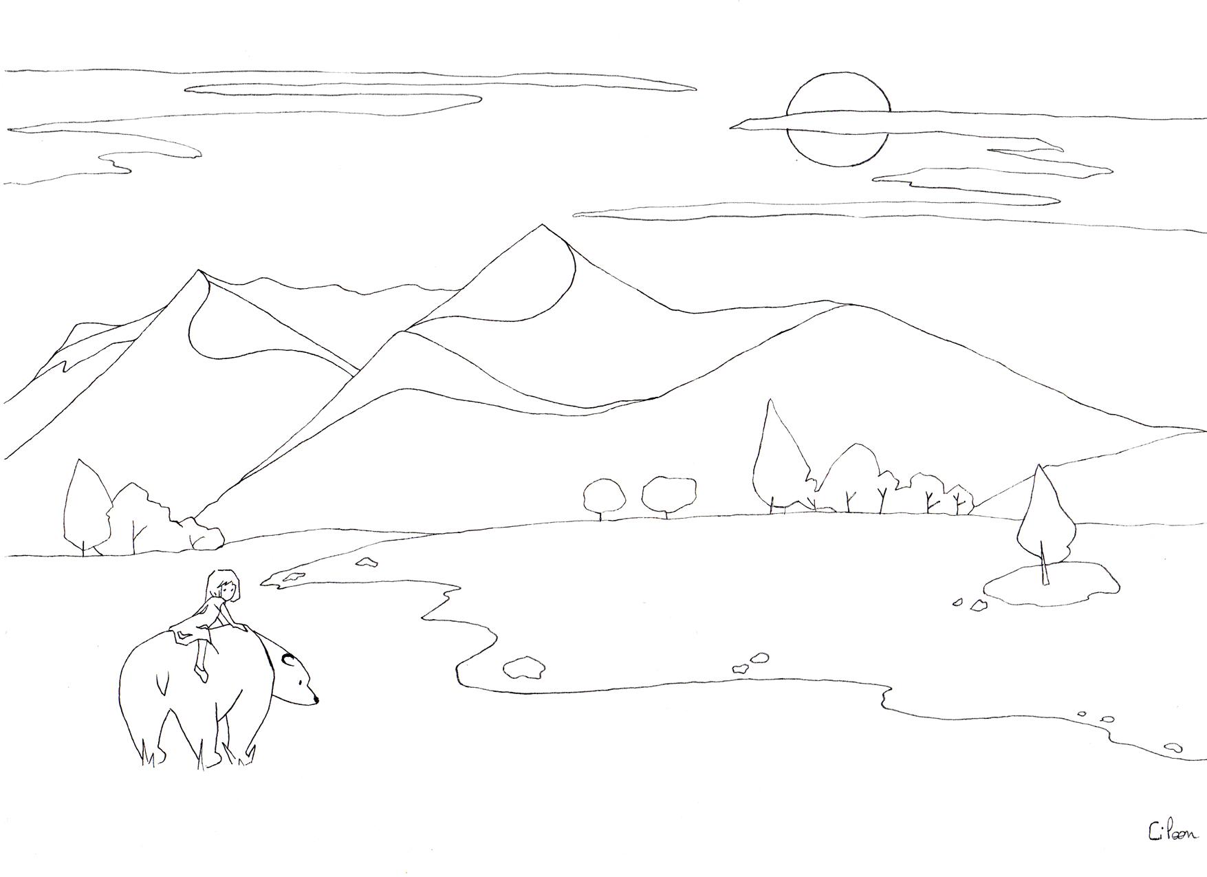 coloriage ours dans la prairie